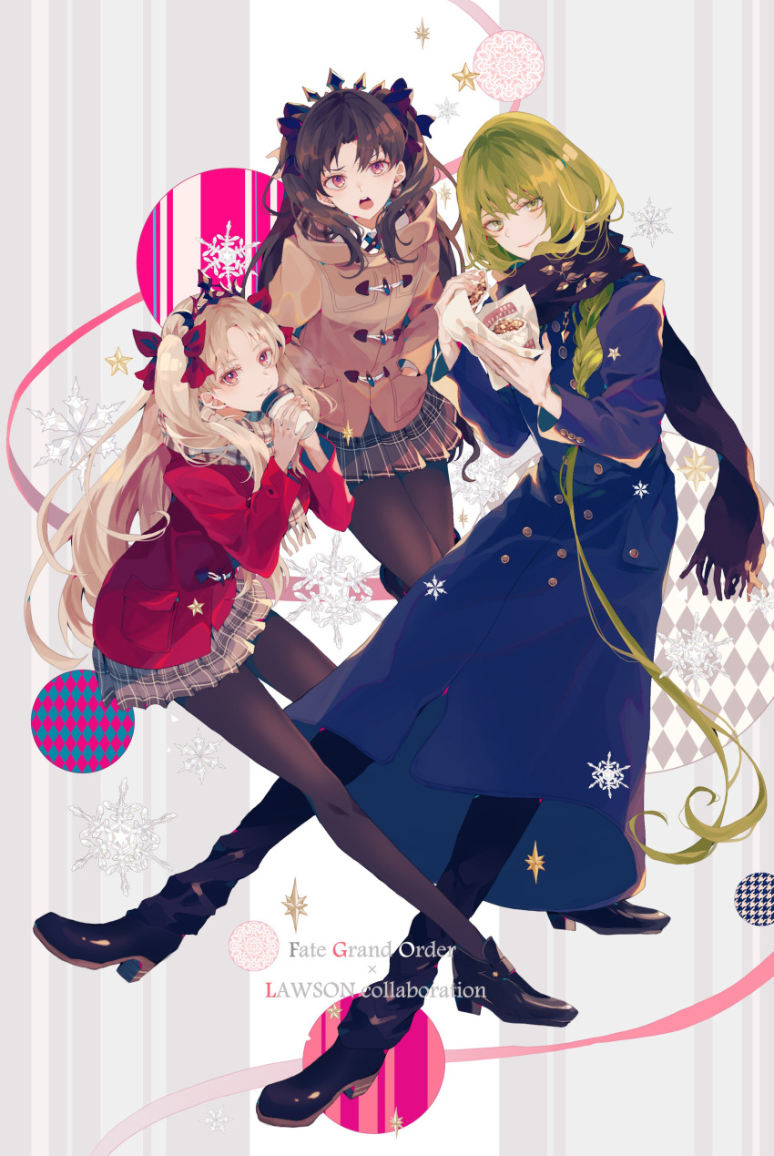 1boy 2girls :o absurdres androgynous black_hair black_legwear blonde_hair blue_coat brown_coat coat coffee_cup commentary_request copyright_name cup disposable_cup enkidu_(fate/strange_fake) ereshkigal_(fate/grand_order) fate/grand_order fate_(series) food green_eyes green_hair hair_ribbon hands_in_pockets highres holding holding_cup holding_food ishtar_(fate)_(all) ishtar_(fate/grand_order) lawson long_hair multiple_girls pantyhose plaid plaid_skirt red_coat red_eyes red_ribbon ribbon satsuki_(miicat) scarf skirt smile snowflakes star tiara two_side_up winter_clothes winter_coat