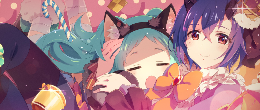 2girls animal_ears apron aqua_hair bandages blue_hair bow bowtie broken_horn brooch candy candy_cane closed_eyes commentary_request cookie crown fake_animal_ears fang food frilled_apron frills hairband highres horns izumo_miyako jewelry kamiki_shinobu long_hair mini_crown mole mole_under_eye multiple_girls open_mouth princess_connect! princess_connect!_re:dive red_eyes short_hair yuuki_tatsuya
