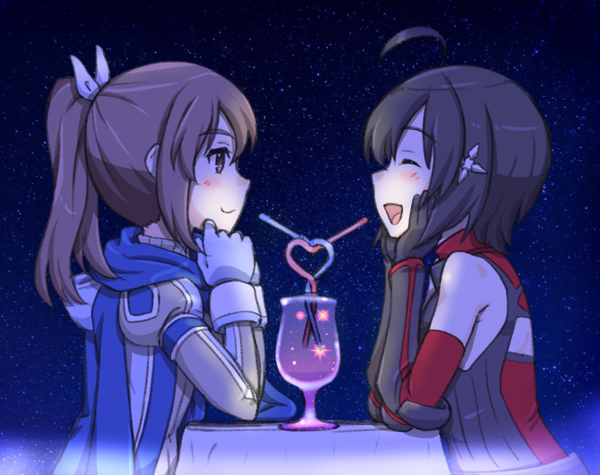 2girls :d ^_^ ahoge armor black_armor black_hair blush brown_eyes brown_hair caracol chin_rest closed_eyes commentary crazy_straw cup drinking_straw elbows_on_table glass gloves hair_ornament hair_ribbon hands_on_own_face heart_straw itai_no_wa_iya_nano_de_bougyoryoku_ni_kyokufuri_shitai_to_omoimasu long_hair looking_at_another maple_(itai_no_wa_iya_nano_de_bougyoryoku_ni_kyokufuri_shitai_to_omoimasu) multiple_girls night night_sky open_mouth outdoors ponytail ribbon sally_(itai_no_wa_iya_nano_de_bougyoryoku_ni_kyokufuri_shitai_to_omoimasu) scarf short_hair sky smile sparkle star_(sky) starry_sky table tablecloth upper_body vambraces yuri