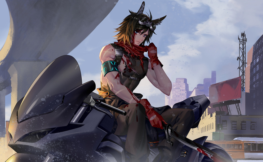 1boy animal_ears arknights armband awer billboard black_pants bleeding blood blood_on_face brown_hair building bus courier_(arknights) deep_wound gloves ground_vehicle hand_up holding holding_weapon injury male_focus motor_vehicle motorcycle outdoors pants red_gloves red_scarf scar scarf sitting sleeveless solo weapon