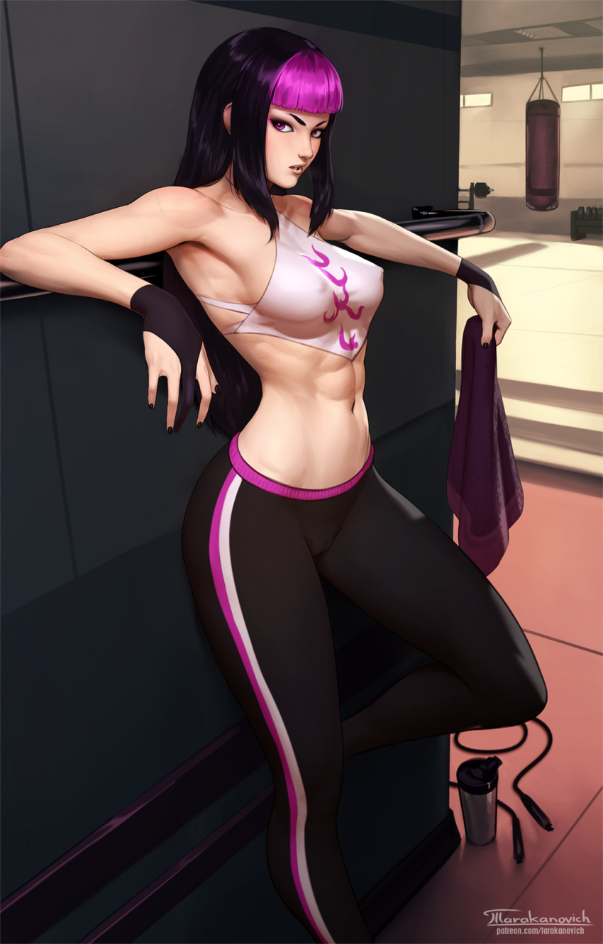 1girl abs against_wall alternate_costume artist_name black_hair breasts commentary covered_nipples english_commentary gloves gym han_juri highres long_hair looking_at_viewer medium_breasts multicolored_hair navel open_mouth pants partly_fingerless_gloves patreon_username punching_bag purple_hair solo stomach street_fighter street_fighter_v striped striped_pants tarakanovich thermos toned towel two-tone_hair watermark web_address