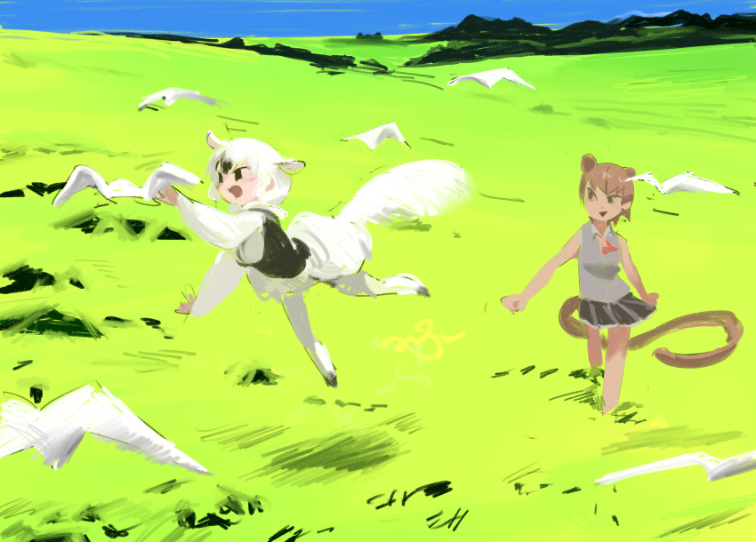 2girls :d animal animal_ears arm_up arms_at_sides ascot bare_arms bare_shoulders bird black_skirt blue_sky brown_hair clenched_hands d: dark_skin day field fossa_(kemono_friends) fossa_ears fossa_tail grass grey_shirt highres jumping kemono_friends light_brown_hair long_sleeves long_tail looking_at_another looking_to_the_side mountain multicolored_hair multiple_girls open_mouth outdoors outstretched_arm pero_(sabuaka_bacon) pleated_skirt puffy_sleeves shirt short_hair skirt sky sleeveless sleeveless_shirt smile southern_tamandua_(kemono_friends) tail tamandua_ears tamandua_tail tsurime two-tone_hair walking white_bird white_hair white_legwear wing_collar