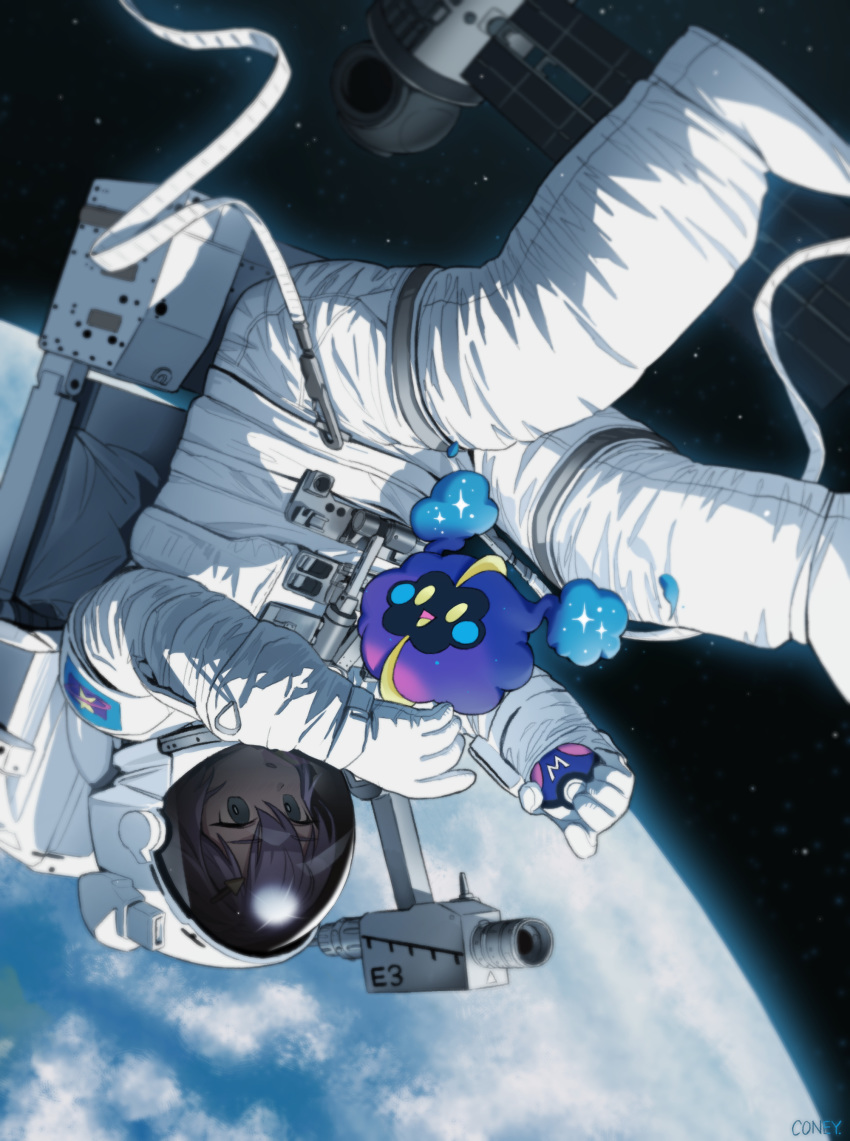 absurdres ambiguous_gender astronaut bangs camera coney cosmog feet_out_of_frame floating gen_7_pokemon green_eyes helmet highres holding holding_poke_ball looking_at_another master_ball original planet poke_ball pokemon pokemon_(creature) purple_hair satellite science_fiction space spacesuit upside-down