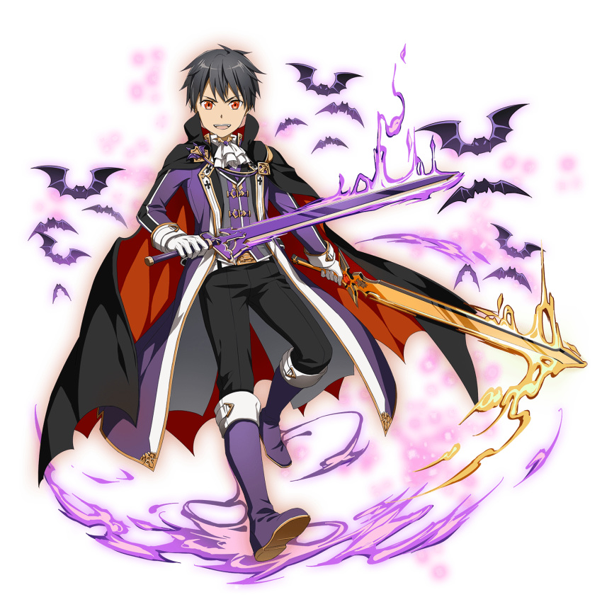 1boy :d alternate_eye_color belt belt_buckle black_cape black_hair black_pants boots buckle cape dual_wielding full_body gloves halloween halloween_costume highres holding holding_sword holding_weapon kirito knee_boots long_sleeves looking_at_viewer male_focus official_art open_mouth pants purple_coat purple_footwear red_eyes shiny shiny_hair smile solo sword sword_art_online transparent_background vampire weapon white_belt white_gloves