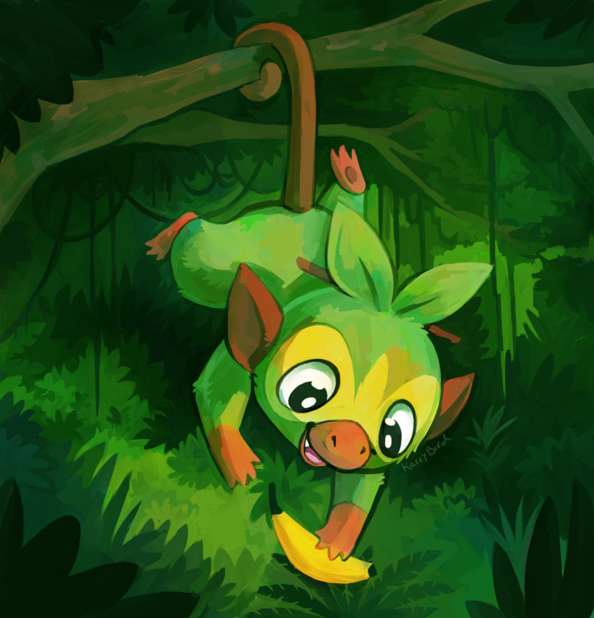:d banana bush creature food forest fruit full_body gen_8_pokemon grookey happy highres holding holding_food holding_fruit karrybird monkey nature no_humans open_mouth outdoors plant pokemon pokemon_(creature) signature smile solo tree vines