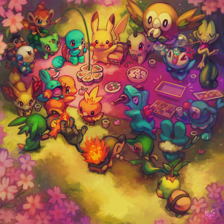 >_< ^_^ bird black_eyes blanket blue_eyes bottle brown_eyes bubble bulbasaur charmander cherry_blossoms chespin chikorita chimchar closed_eyes colorful commentary creature cup cyndaquil dango day english_commentary eye_contact fennekin flower flying food froakie gen_1_pokemon gen_2_pokemon gen_3_pokemon gen_4_pokemon gen_5_pokemon gen_6_pokemon gen_7_pokemon grass hanami highres holding holding_cup koriarredondo litten looking_at_another lying mouth_hold mudkip no_humans obentou on_back onigiri oshawott outdoors picnic picnic_basket pikachu piplup pokemon pokemon_(creature) popplio red_eyes rowlet sanshoku_dango signature snivy squirtle standing tepig torchic totodile treecko turtwig wagashi