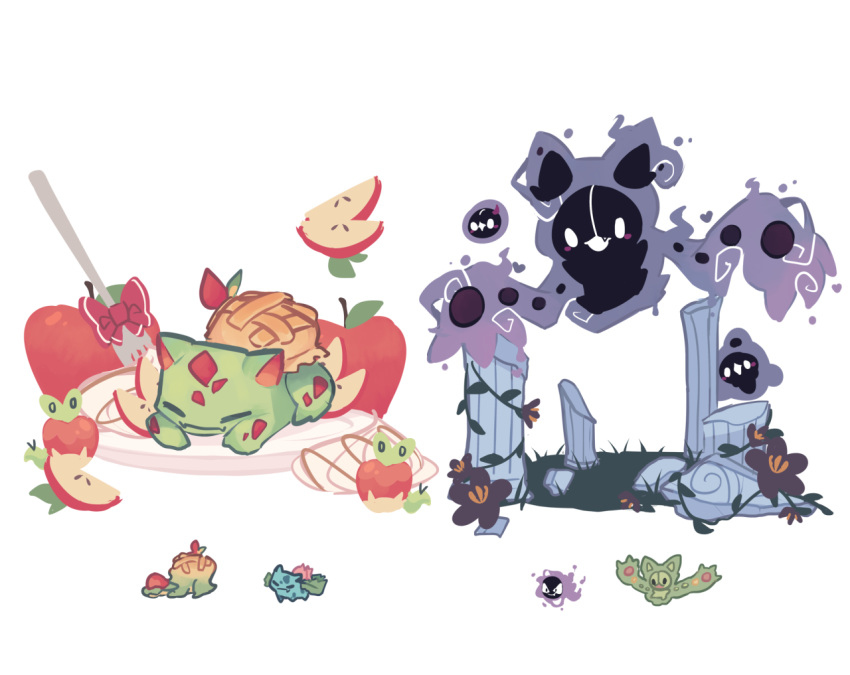 apple apple_slice appletun applin blank_eyes blush_stickers charamells closed_eyes column creature duosion fang fangs floating food fork fruit full_body fusion gastly gen_1_pokemon gen_5_pokemon gen_8_pokemon ghost ivysaur looking_at_viewer multiple_fusions no_humans pillar plate pokemon pokemon_(creature) red_ribbon reuniclus ribbon ruins simple_background solosis standing white_background