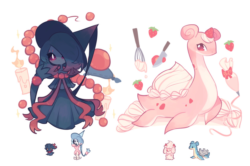 alcremie bangs brown_eyes cake_batter candle charamells creature cutting fire flame floating food fruit full_body fusion gen_1_pokemon gen_2_pokemon gen_8_pokemon ghost hat hatterene horn knife lapras looking_at_another looking_at_viewer medium_hair misdreavus multiple_fusions no_humans pokemon pokemon_(creature) purple_hair shell simple_background standing strawberry violet_eyes whipped_cream white_background witch_hat