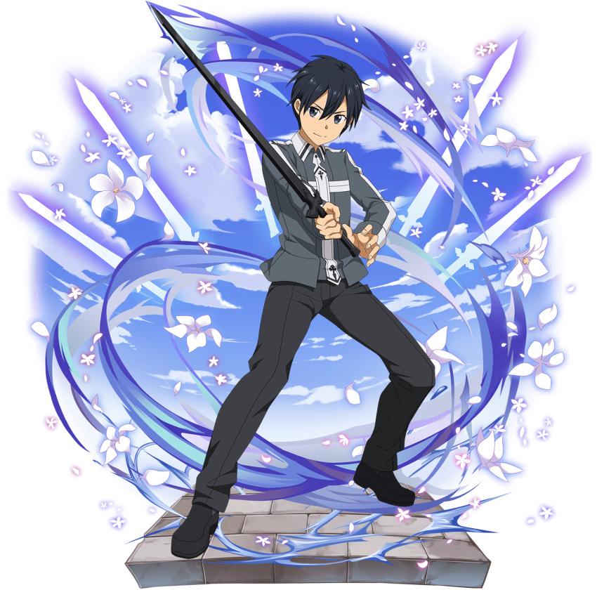 1boy bangs black_eyes black_hair black_pants closed_mouth flower grey_jacket hair_between_eyes highres holding holding_sword holding_weapon jacket kirito long_sleeves looking_at_viewer male_focus non-web_source official_art pants shiny shiny_hair smile solo sword sword_art_online transparent_background uniform weapon white_flower