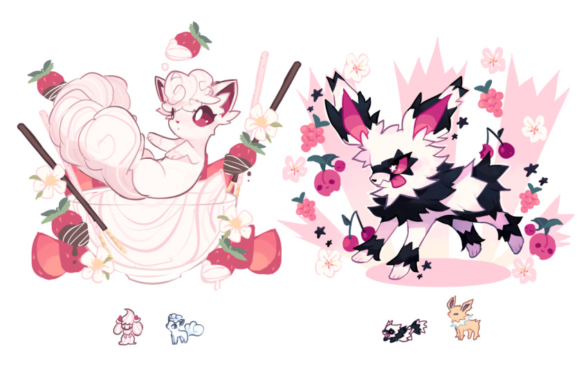 ^_^ alcremie alolan_form alolan_vulpix brown_eyes charamells cherry cherubi chocolate closed_eyes creature flower food fruit full_body fusion galarian_form galarian_zigzagoon gen_1_pokemon gen_4_pokemon gen_7_pokemon gen_8_pokemon grapes jolteon multiple_fusions no_humans pink_eyes pocky pokemon pokemon_(creature) simple_background star strawberry striped tongue tongue_out whipped_cream white_background
