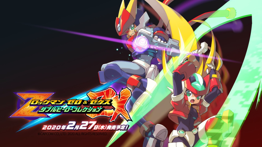 blonde_hair commentary_request copyright_name degarashi_(ponkotsu) energy_blade energy_sword gradient gradient_background green_eyes grey_(rockman) gun helmet highres holding holding_weapon logo long_hair model_zx open_mouth power_armor rockman rockman_zx rockman_zx_advent sword wallpaper weapon