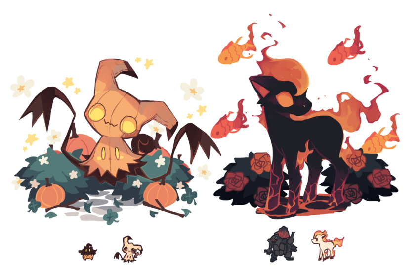 bush charamells coalossal creature fire fish flower full_body fusion gen_1_pokemon gen_6_pokemon gen_7_pokemon gen_8_pokemon grass horse looking_at_viewer mimikyu multiple_fusions no_humans pokemon pokemon_(creature) ponyta pumpkaboo pumpkin rose simple_background standing white_background