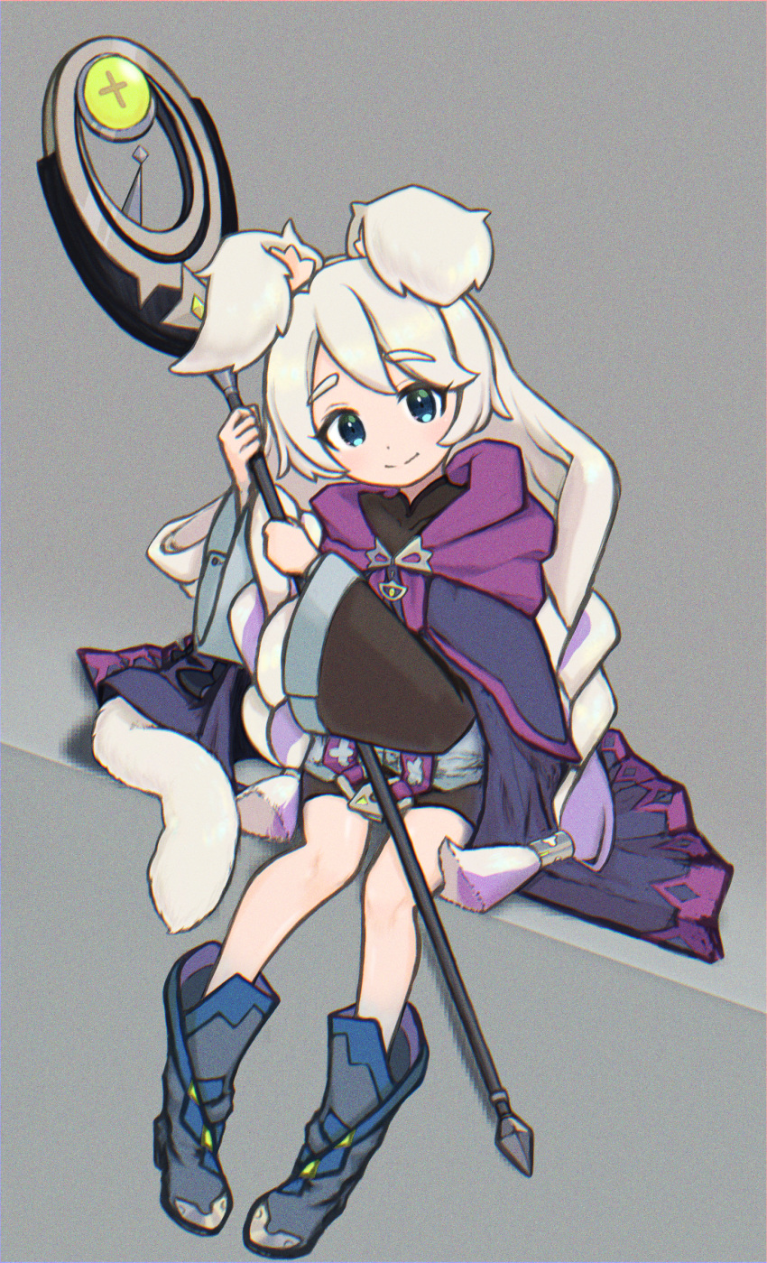 1girl animal_ear_fluff animal_ears blonde_hair blue_eyes boots braid cape eyebrows_visible_through_hair highres long_hair looking_at_viewer multicolored_hair purple_hair rebecca_(world_flipper) smile solo staff streaked_hair tail twin_braids very_long_hair world_flipper zoo_(keigozoo)