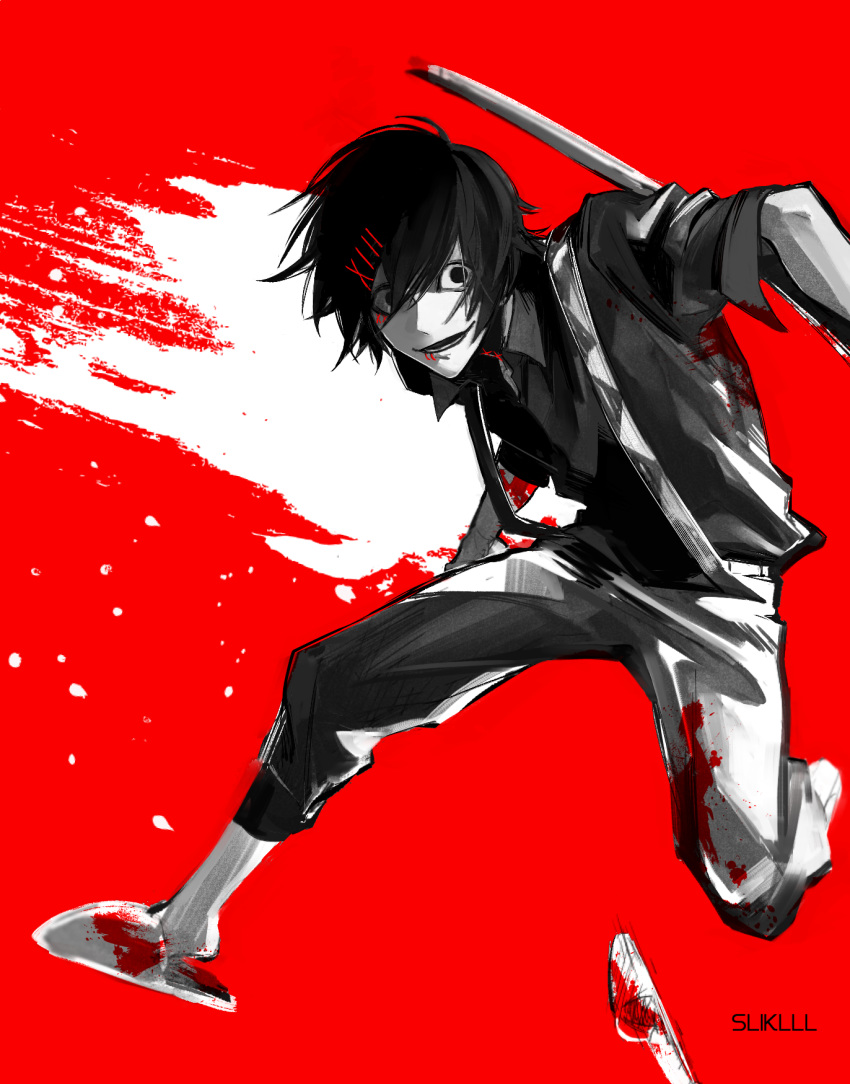 1boy androgynous black_eyes black_hair black_shirt blood blood_splatter blood_stain bloody_clothes flip-flops grin hair_ornament hairclip highres holding holding_weapon jumping looking_at_viewer loose_clothes loose_shirt male_focus out_of_frame pants partially_colored red_background roman_numerals sandals scythe shirt short_hair simple_background sliklll smile solo stitched_face stitches suspenders suzuya_juuzou tokyo_ghoul tokyo_ghoul:re weapon x_hair_ornament