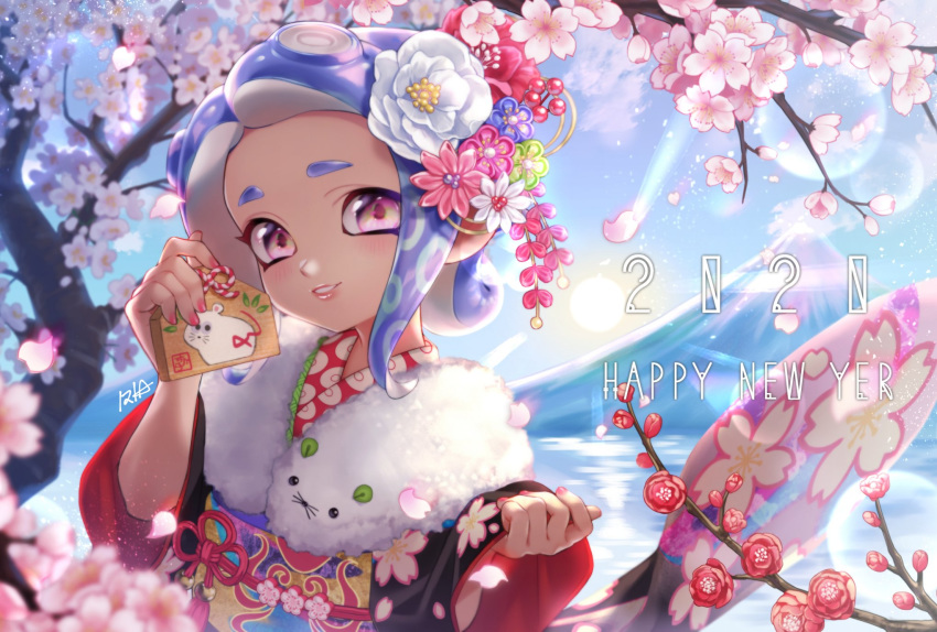 1girl 2020 artist_name blue_hair blue_sky blurry blurry_foreground cherry_blossoms chinese_zodiac clear_sky commentary day depth_of_field ema english_commentary english_text flower fur_scarf hair_flower hair_ornament happy_new_year highres iria_splash japanese_clothes kimono lens_flare lips long_sleeves medium_hair nail_polish new_year obi octarian octoling outdoors parted_lips pink_flower pink_nails print_kimono red_flower red_kimono sash signature sky smile solo splatoon_(series) suction_cups tree violet_eyes white_flower wide_sleeves year_of_the_rat