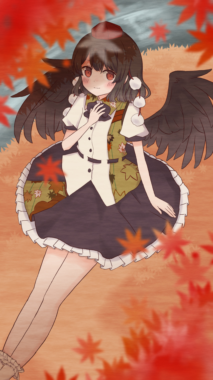 absurdres autumn autumn_leaves bare_legs bird_wings black_hair black_neckwear black_ribbon black_skirt black_wings blush collared_shirt commentary_request frilled_skirt frills from_above hand_on_own_chest hat highres leaf leaf-pattern_stripe linda_18 maple_leaf necktie partial_commentary pom_pom_(clothes) red_eyes ribbon river shameimaru_aya shirt sitting skirt tokin_hat touhou white_shirt wings