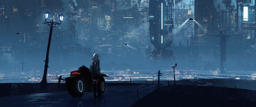 1girl absurdres antennae asteroid_ill building city_lights flying hands_in_pockets highres iz_(asteroid_ill) jacket lamppost lights long_hair looking_to_the_side neon_trim original outdoors reflection road scenery science_fiction solo standing unamused white_hair