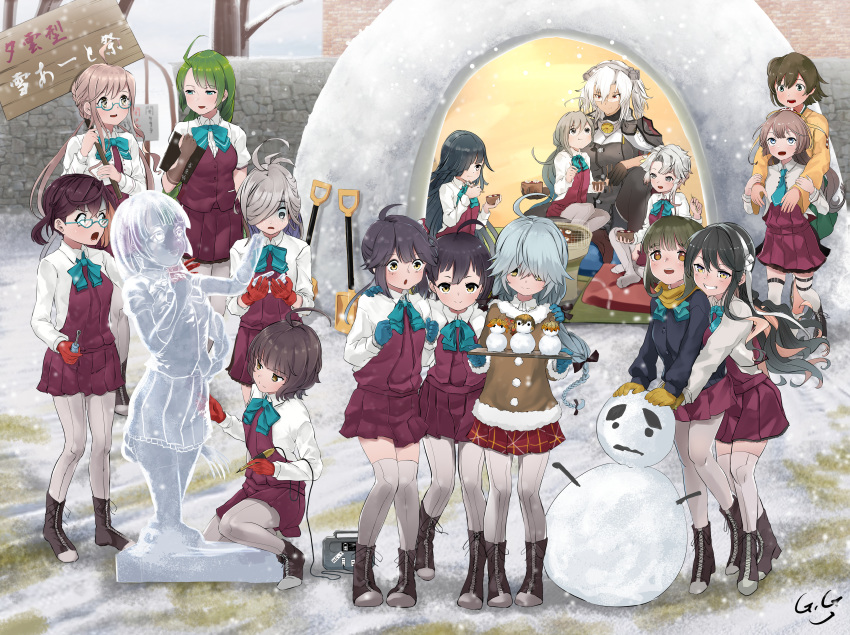 6+girls :d :t absurdres ahoge akishimo_(kantai_collection) asashimo_(kantai_collection) asymmetrical_bangs asymmetrical_hair bangs bare_tree black_gloves black_hair black_legwear black_ribbon blazer blue-framed_eyewear blue_eyes blue_gloves blue_hair blue_jacket blue_neckwear blunt_bangs blush bob_cut boots bow bowl bowtie braid breasts brick_wall brown_eyes brown_gloves brown_hair brown_scarf brown_sweater chisel chopsticks clenched_hands clipboard collar commentary_request cross-laced_footwear crown_braid cushion dark_skin double_bun dress eating eyebrows_visible_through_hair fingerless_gloves flat_chest fujinami_(kantai_collection) full_body fur-trimmed_sweater gegeron glasses gloves gradient_eyes gradient_hair green_eyes green_hair green_hakama grey_eyes grey_eyes grey_hair grey_legwear griddle grill grin hair_between_eyes hair_bun hair_ornament hair_over_eyes hair_over_one_eye hair_ribbon hairband hakama hakama_skirt halterneck hamanami_(kantai_collection) hand_on_another's_shoulder hayanami_(kantai_collection) hayashimo_(kantai_collection) headgear highres hime_cut hiryuu_(kantai_collection) holding holding_bowl holding_chopsticks holding_clipboard holding_sign horror_(expression) hug hug_from_behind huge_filesize ice_sculpture indian_style jacket japanese_clothes kantai_collection kazagumo_(kantai_collection) kikumon kimono kishinami_(kantai_collection) kiyoshimo_(kantai_collection) lace-up_boots large_breasts leaf_hair_ornament long_hair long_sleeves looking_at_another looking_at_viewer low_twintails makigumo_(kantai_collection) medium_breasts mochi mole mole_under_mouth multicolored multicolored_eyes multicolored_hair multiple_girls musashi_(kantai_collection) naganami_(kantai_collection) necktie okinami_(kantai_collection) one_side_up open_mouth outdoors pantyhose pink_hair plaid plaid_skirt pleated_skirt pointy_hair ponytail purple_hair purple_skirt quinzhee red_eyes red_gloves remodel_(kantai_collection) ribbon round_eyewear scarf school_uniform semi-rimless_eyewear shirt short_hair short_hair_with_long_locks short_sleeves shovel side_ponytail sidelocks sign signature silver_hair single_braid single_thighhigh sitting sitting_on_lap sitting_on_person skirt sleeves_rolled_up small_breasts smile snow snow_shelter snowing snowman squatting standing surprised sweat sweater takanami_(kantai_collection) tan tatami thigh-highs translation_request tree tsurime turn_pale twintails two_side_up very_long_hair vest violet_eyes white_hair white_hairband white_ribbon white_shirt yellow_eyes yellow_kimono yuugumo_(kantai_collection) zabuton zettai_ryouiki