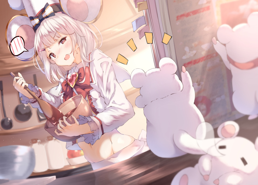 1girl animal animal_ears book bow bowl bowtie chef_hat chocolate chocolate_making commentary_request granblue_fantasy hair_ornament hairclip hat highres holding holding_bowl kitchen medium_hair midriff mouse mouse_ears navel open_mouth rat_ears red_eyes shirt silver_hair spatula ukiwakisen valentine vikala_(granblue_fantasy) white_shirt