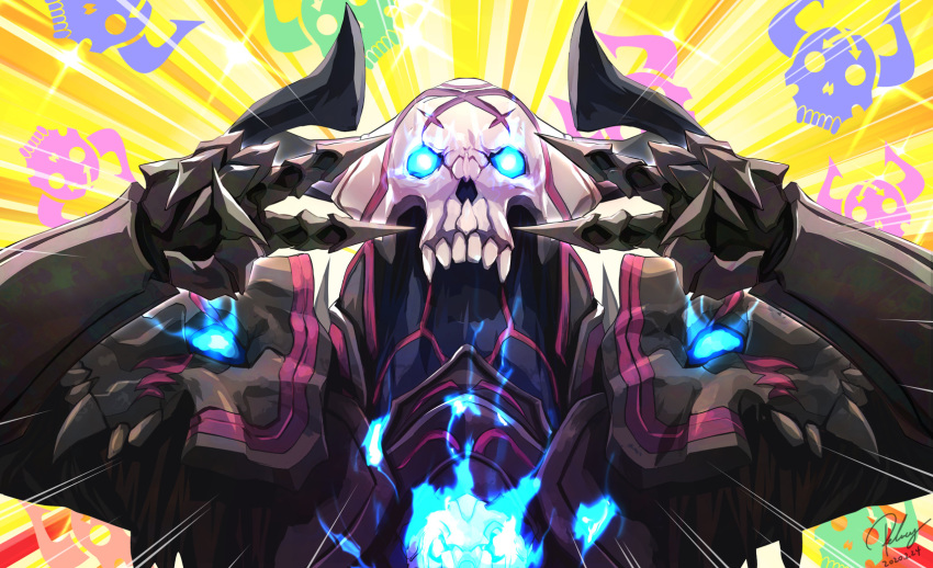 1boy armor black_armor blue_eyes dated double_v emotional_engine_-_full_drive fate/grand_order fate_(series) gauntlets glowing glowing_eyes hands_up highres horns king_hassan_(fate/grand_order) parody pauldrons re_lucy signature skull skull_mask solo sparkle striped striped_background v yellow_background