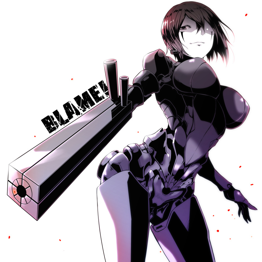 1girl android arm_cannon black_hair blame! breasts brown_eyes copyright_name cowboy_shot facial_mark graviton_beam_emitter highres hip_focus large_breasts light_smile pale_skin perky_breasts robot_joints safeguard_(blame!) sakuma_tsukasa sanakan short_hair solo weapon white_background