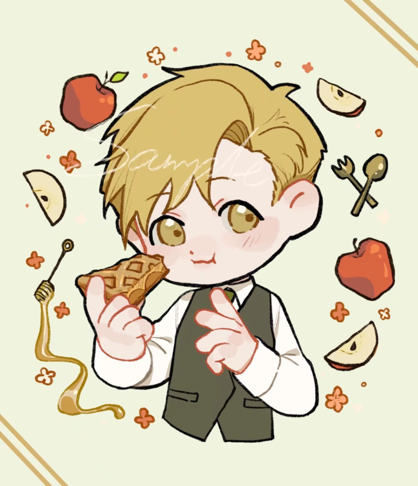 1boy alphonse_elric apple apple_pie apple_slice beige_background blonde_hair blush blush_stickers chewing chibi collared_shirt cropped_torso dot_nose ear_blush eating eyebrows_visible_through_hair floral_background flower food fork fqdyy fruit fullmetal_alchemist green_neckwear hair_between_eyes happy highres holding holding_cake holding_food honey honey_dipper knife leaf light_smile long_sleeves looking_to_the_side male_focus necktie orange_flower polka_dot polka_dot_background puffy_cheeks sample shirt simple_background striped striped_background waistcoat wavy_mouth white_flower white_shirt yellow_eyes