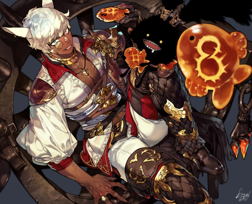 1boy animal_ears bangs boots cat_boy cat_ears chest collared_shirt dark_skin facial_mark fang final_fantasy final_fantasy_xiv fingernails food food_on_face gloves green_eyes hand_up heterochromia high_collar highres jewelry long_fingernails looking_at_viewer looking_up male_focus miqo'te monocle navel open_clothes open_mouth open_shirt pants partly_fingerless_gloves pet pigeon666 pink_eyes puffy_sleeves ring shirt short_hair signature single_glove sitting slit_pupils smile spread_fingers stomach taiyaki thigh-highs thigh_boots veins wagashi white_hair
