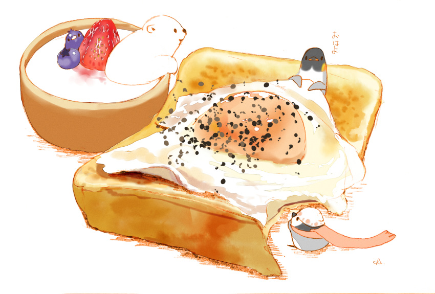 4others artist_name bear bird chai commentary egg_yolk food fruit highres looking_at_another looking_at_viewer multiple_others no_humans original penguin pepper scarf simple_background sitting_on_food strawberry sunny_side_up_egg toast translated white_background yogurt