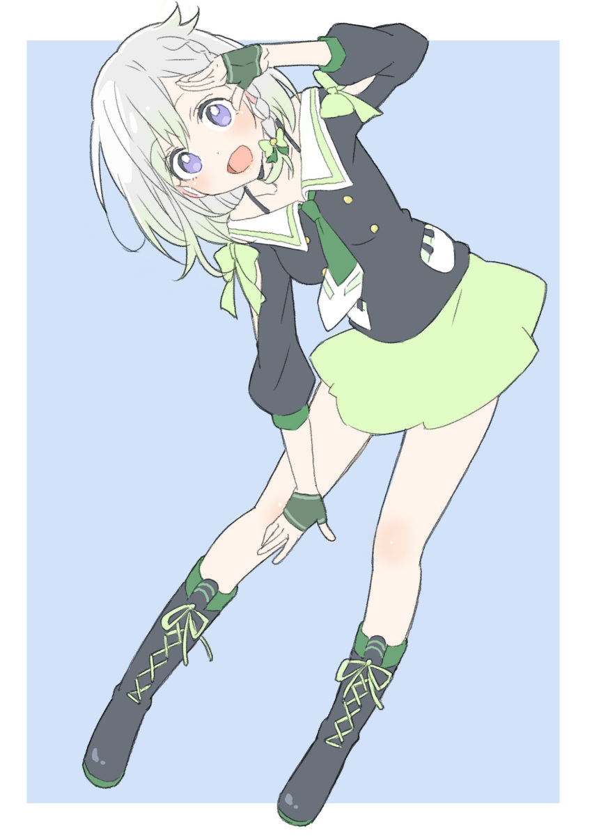 1girl :d absurdres bent_over black_footwear black_shirt blue_background blush boots border bow bra_strap braid cross-laced_footwear donguri_suzume dot_nose fingerless_gloves gloves gradient_hair green_bow green_gloves green_neckwear green_skirt grey_hair hand_up highres long_sleeves looking_at_viewer multicolored_hair necktie open_mouth sailor_collar school_uniform serafuku shirt simple_background skirt smile solo violet_eyes virtual_youtuber white_border white_sailor_collar yuni_(yuni_channel) yuni_channel