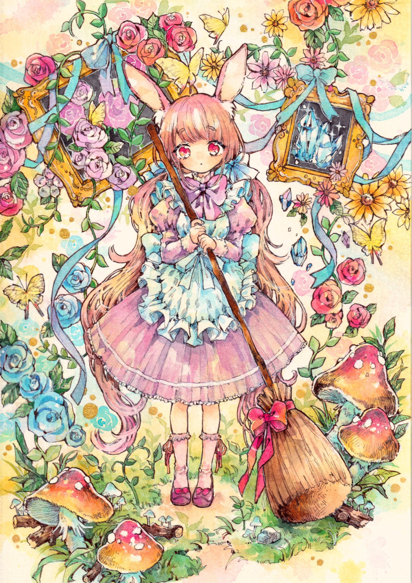 1girl animal_ears apron blue_ribbon bow bowtie broom bug butterfly commentary_request crystal dress flower fly_agaric frilled_apron frills full_body grass hair_ribbon highres holding holding_broom insect juliet_sleeves long_hair long_sleeves looking_at_viewer low_twintails mushroom natuki1016 original picture_frame pink_dress pink_eyes pink_hair pink_legwear puffy_sleeves rabbit_ears ribbon rose shoe_bow shoes socks solo standing traditional_media twintails very_long_hair watercolor_(medium)