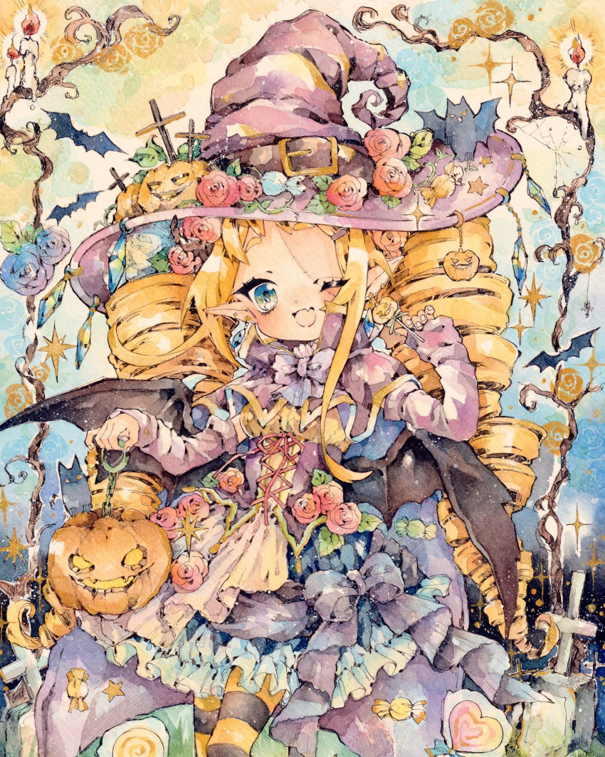 1girl ;d bat blonde_hair blue_eyes blue_skirt buckle candle candy capelet commentary corset cowboy_shot cross cross-laced_clothes crystal detached_sleeves dress_flower drill_hair earrings fang flower food frills hair_flower hair_ornament hairclip halloween hand_up hat hat_belt hat_flower highres holding holding_lollipop jack-o'-lantern jewelry lollipop long_hair long_sleeves natuki1016 one_eye_closed open_mouth original pantyhose pointy_ears pumpkin pumpkin_hat_ornament rose skin_fang skirt smile solo stitched_face stitches striped striped_legwear symbol_commentary traditional_media twin_drills very_long_hair watercolor_(medium) witch_hat wrapped_candy