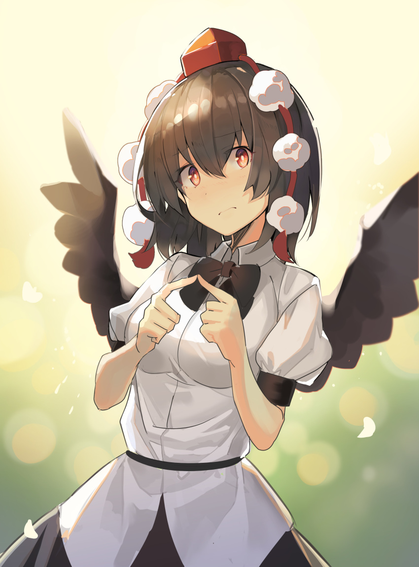 1girl absurdres bangs black_bow black_hair black_neckwear black_skirt black_wings bow bowtie breasts commentary eyebrows_visible_through_hair fingers_together hair_between_eyes hands_up hat head_tilt highres looking_at_viewer medium_breasts pom_pom_(clothes) puffy_short_sleeves puffy_sleeves red_eyes rin_falcon shameimaru_aya shirt short_hair short_sleeves skirt solo tokin_hat touhou upper_body white_shirt wings
