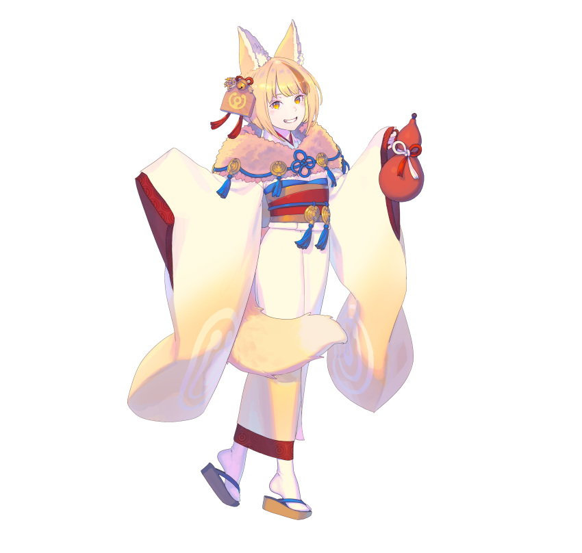 1girl :d absurdres animal_ear_fluff animal_ears bell blonde_hair clog_sandals fire_emblem fire_emblem_fates fire_emblem_heroes fox_ears fox_tail full_body fur_trim geta gourd grin hair_bell hair_ornament hair_ribbon head_tilt highres holding japanese_clothes jingle_bell kimono long_sleeves looking_at_viewer multicolored_hair nagisa_kurousagi obi official_art open_mouth red_ribbon ribbon sandals sash selkie_(fire_emblem) short_hair simple_background sleeves_past_fingers sleeves_past_wrists smile solo standing streaked_hair tail white_background white_legwear wide_sleeves yellow_eyes yellow_kimono