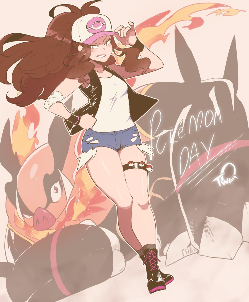 1girl adjusting_clothes adjusting_hat ankle_boots baseball_cap blue_eyes boots breasts brown_hair commentary denim denim_shorts emboar english_commentary exposed_pocket gen_5_pokemon hand_on_hip hat high_ponytail highres long_hair nyantcha open_clothes open_vest poke_ball poke_ball_(generic) pokemon pokemon_(creature) pokemon_(game) pokemon_bw short_shorts shorts single_elbow_pad sleeveless small_breasts socks solo_focus thigh_strap thighs touko_(pokemon) vest