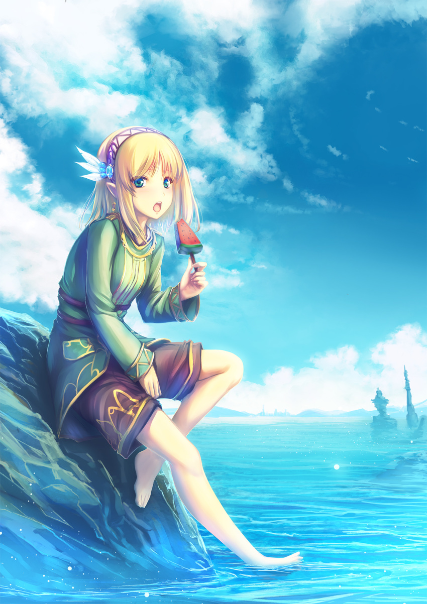 1girl :o aqua_eyes barefoot blonde_hair blue_sky blush breasts brown_shorts clouds commentary_request earrings elf feathers feet food green_jacket hair_feathers hairband highres holding holding_food jacket jewelry keena_(leadale_no_daichi_nite) leadale_no_daichi_nite long_sleeves looking_at_viewer medium_hair nature ocean official_art open_mouth outdoors pointy_ears popsicle rock shorts sidelocks sitting sky small_breasts solo tenmaso toes upper_teeth watermelon_bar