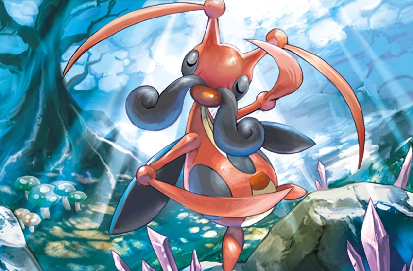 anesaki_dynamic bare_tree closed_eyes clouds cloudy_sky creature dancing day facial_hair facing_viewer gen_4_pokemon kricketune mushroom mustache no_humans official_art outdoors pokemon pokemon_(creature) pokemon_trading_card_game rock sky solo sunlight third-party_source tree