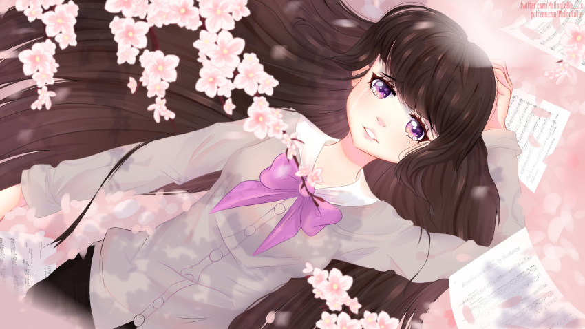 1girl blush bow brown_hair cherry_blossoms crying crying_with_eyes_open highres long_hair long_sleeves melloncollie-chan my_little_pony my_little_pony_friendship_is_magic octavia_melody open_mouth personification solo tears uniform upper_body violet_eyes wallpaper