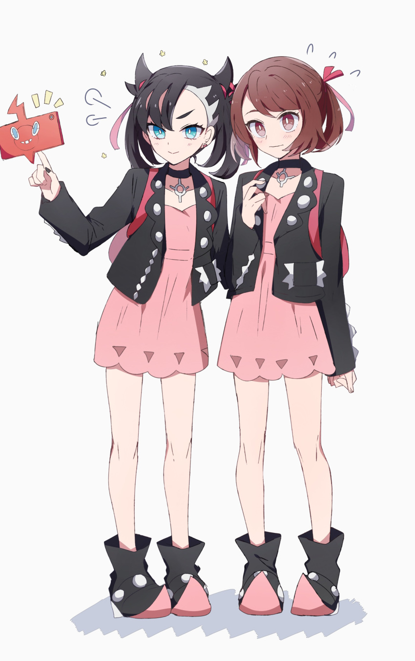 2girls =3 absurdres aqua_eyes asymmetrical_bangs asymmetrical_hair backpack bag bangs black_choker black_footwear black_hair black_jacket black_nails blush bright_pupils brown_eyes brown_hair choker closed_mouth commentary cosplay dress earrings flying_sweatdrops hair_ribbon highres jacket jewelry light_frown long_sleeves mary_(pokemon) mary_(pokemon)_(cosplay) matching_outfit medium_hair multiple_girls nanashiba_(banntlla) no_legwear notice_lines open_clothes open_jacket pendant pink_dress pointy_shoes pokedex pokemon pokemon_(game) pokemon_swsh red_ribbon ribbon shoes short_dress short_hair side-by-side smile standing swept_bangs twintails undercut white_pupils yuuri_(pokemon)