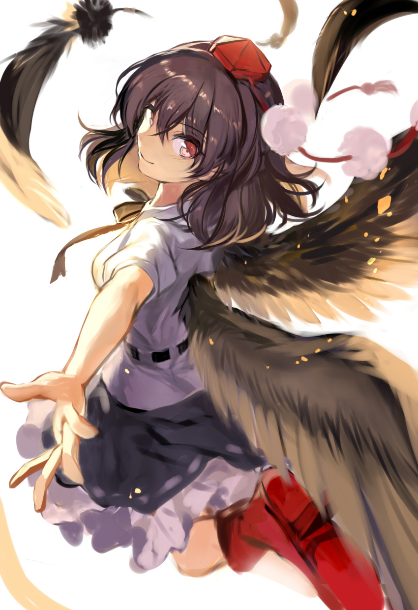 1girl black_neckwear black_ribbon black_skirt black_wings breasts commentary feathered_wings feathers from_behind fuupu hat highres looking_back medium_breasts miniskirt neck_ribbon petticoat pom_pom_(clothes) puffy_short_sleeves puffy_sleeves red_footwear ribbon shameimaru_aya shirt shoes short_sleeves simple_background skirt solo tokin_hat touhou white_background white_shirt wings