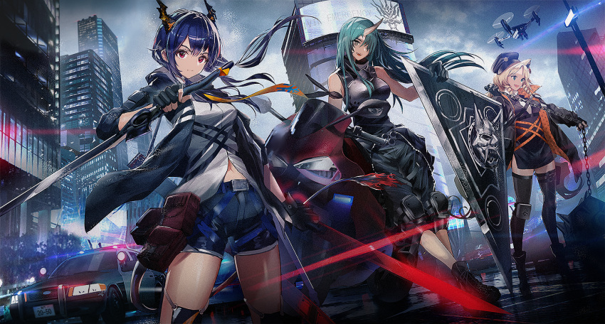 3girls :d animal_ears arknights arm_ribbon armor bangs bare_shoulders belt beret black_dress black_gloves black_headwear black_jacket black_legwear black_pants black_ribbon black_shirt blonde_hair blue_hair boots breastplate breasts car ch'en_(arknights) chain city clothes_around_waist clouds cloudy_sky commentary_request crown_victoria dragon_horns dragon_tail dress drill_hair drill_locks drone dual_wielding dutch_angle fang fingerless_gloves ford gloves green_hair ground_vehicle hair_over_one_eye hat holding holding_chain holding_sword holding_weapon horn horns hoshiguma_(arknights) jacket katana knee_pads long_hair looking_at_viewer medium_breasts motor_vehicle motorcycle multiple_girls navel necktie oni_horns open_clothes open_jacket open_mouth outdoors pants planted police_car red_eyes reverse_grip revision ribbon shield shirt short_dress shorts side_slit skin-covered_horns sky sleeveless sleeveless_shirt smile standing swav swire_(arknights) sword tail thigh-highs thighs tiger_ears twin_drills weapon white_shirt yellow_eyes yellow_neckwear zettai_ryouiki
