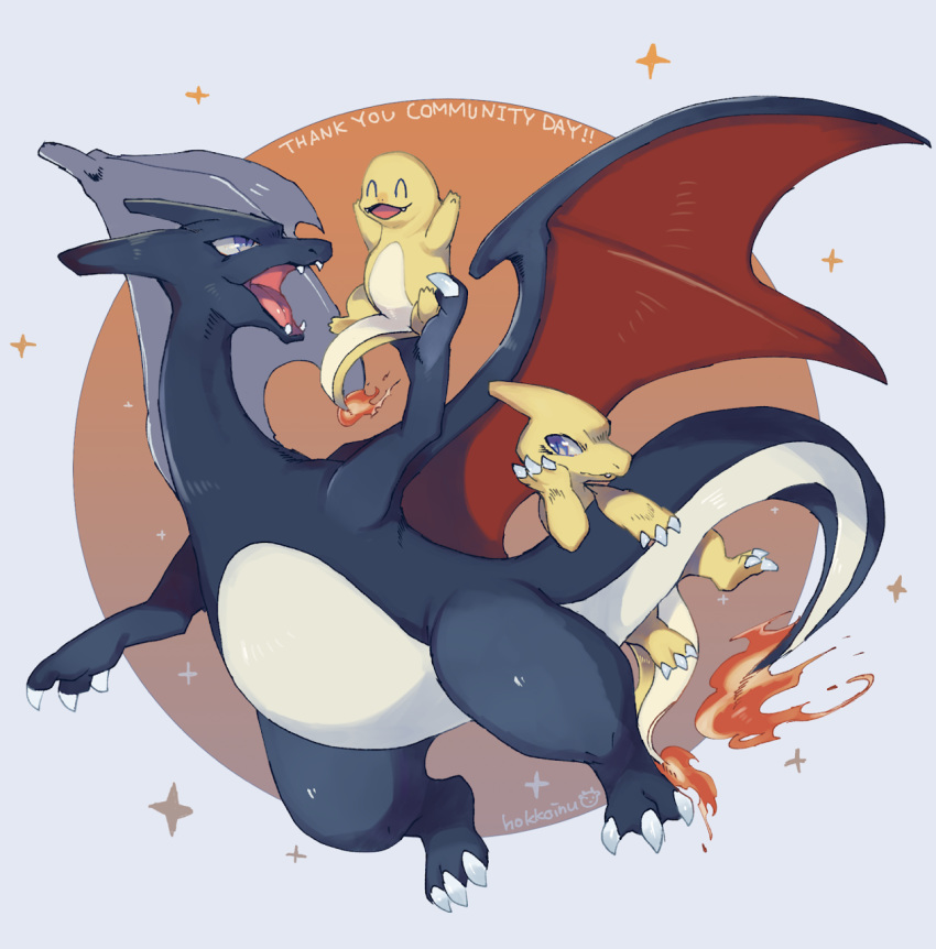 :d ^_^ charizard charmander charmeleon closed_eyes commentary creature dragon english_commentary fiery_tail fire flame flying gen_1_pokemon highres hoko_(coornxx) holding holding_pokemon horn horns no_humans open_mouth pokemon pokemon_(creature) signature smile sparkle tail