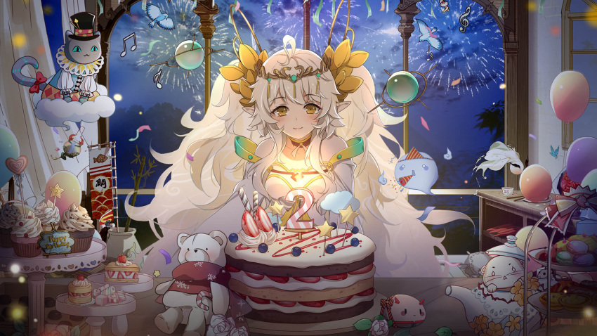 1girl balloon birthday_cake cake candle choker confetti cupcake detached_sleeves dress food food_fantasy fruit goddess_rice_(food_fantasy) highres long_hair macaron multicolored_hair night night_sky official_art rice_(food_fantasy) rice_hair_ornament sky smile solo strawberry sweets teapot tiara tiered_tray twintails yellow_eyes