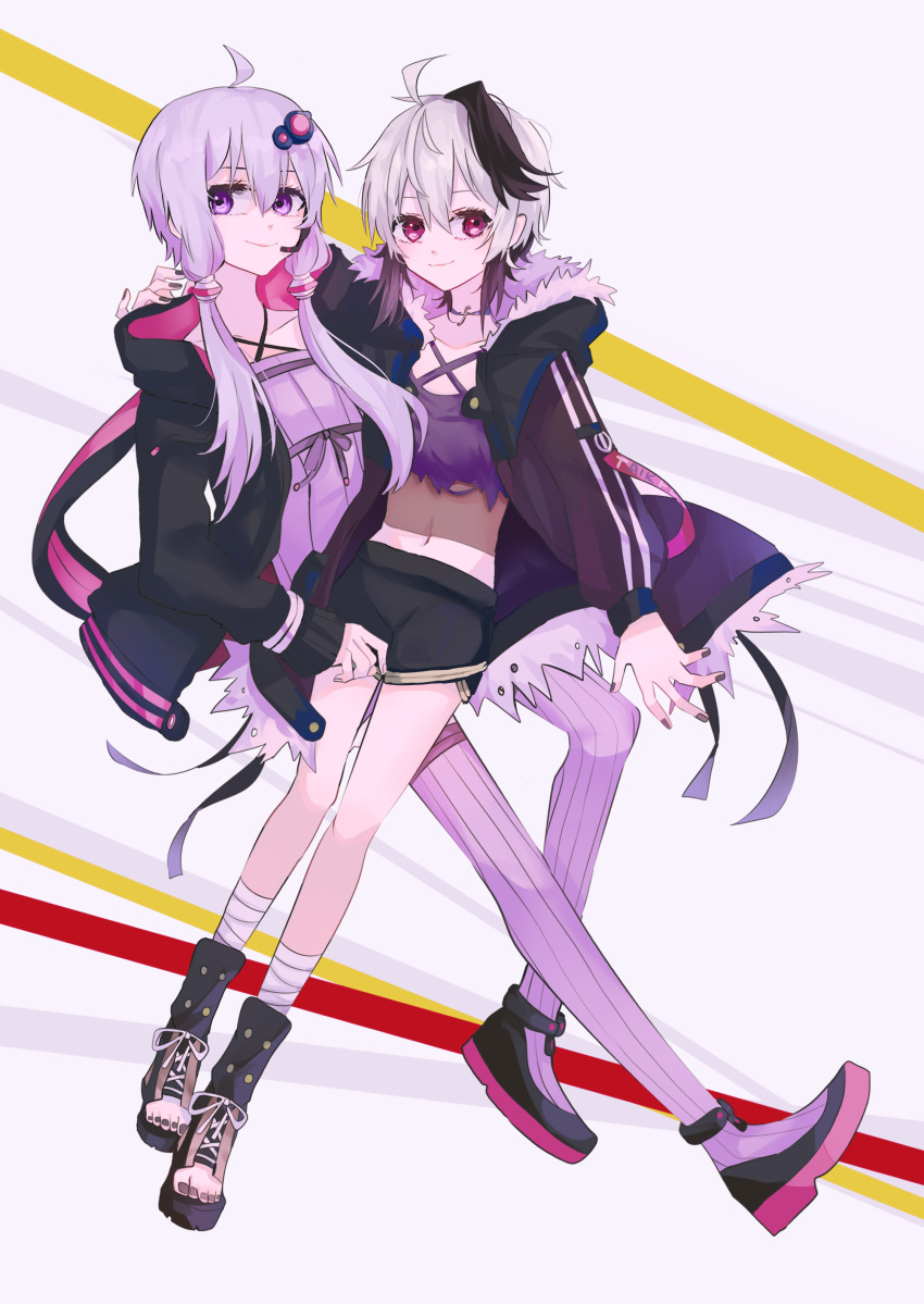 2girls absurdres ahoge androgynous animal_ears anklet arm_around_neck bandaged_leg bandages black_jacket black_shorts chinese_commentary commentary_request criss-cross_halter crop_top dress flat_chest flower_(vocaloid) fur-trimmed_jacket fur_trim gomiyama hair_ornament hair_tubes halterneck headset highres hood hooded_jacket jacket jewelry looking_away multicolored_hair multiple_girls nail_polish on_lap pink_eyes purple_dress purple_hair purple_legwear purple_nails rabbit_ears shoes short_hair short_hair_with_long_locks short_shorts shorts sneakers strapless strapless_dress streaked_hair striped striped_legwear thigh-highs tube_dress v_flower_(gynoid_talk) v_flower_(vocaloid4) violet_eyes vocaloid voiceroid white_hair yuri yuzuki_yukari