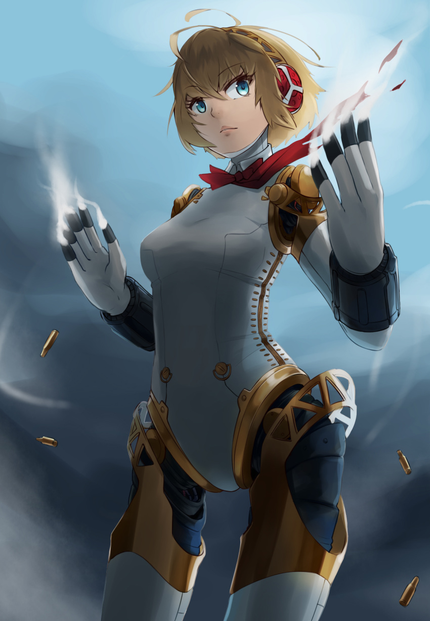 1girl aegis_(persona) android blonde_hair blue_eyes bow breasts closed_mouth commentary highres looking_at_viewer okamin persona persona_3 ribbon robot_joints short_hair smoke solo