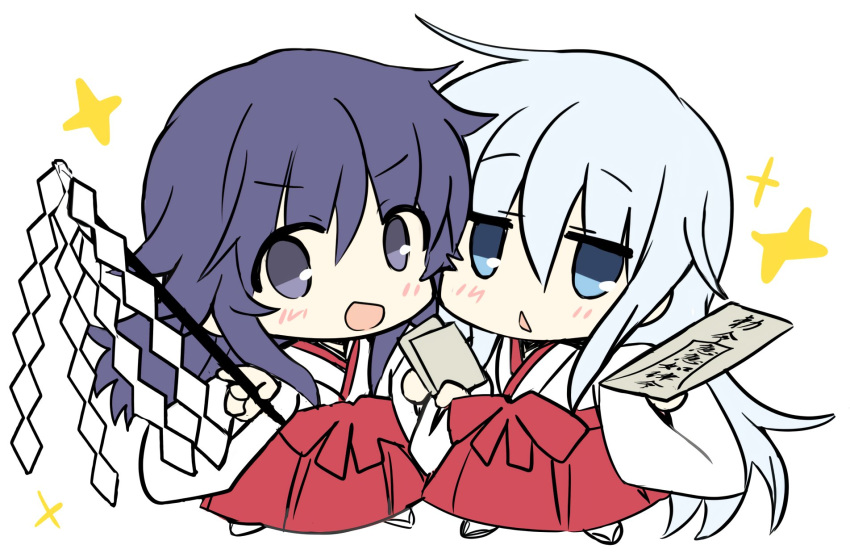 2girls akatsuki_(kantai_collection) alternate_costume blue_eyes chestnut_mouth chibi commentary_request full_body gohei hair_between_eyes hakama hibiki_(kantai_collection) highres hizuki_yayoi japanese_clothes kantai_collection kimono long_hair looking_at_viewer miko multiple_girls paper purple_hair red_hakama silver_hair simple_background smile standing violet_eyes white_background white_kimono wide_sleeves