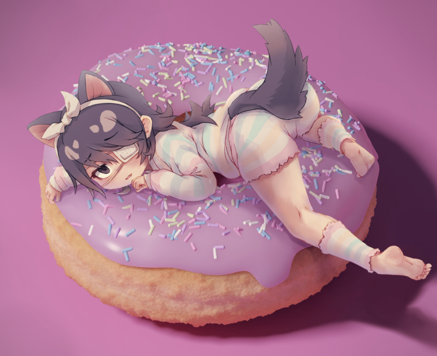 1girl alternate_costume animal_ears australian_devil_(kemono_friends) barefoot black_eyes black_hair blue_stripes bow commentary_request doughnut doughnut_innertube extra_ears eyebrows_visible_through_hair eyepatch fang food from_side full_body green_stripe hair_bow hair_ribbon hairband highres in_food kemono_friends kemono_friends_3 kneepits kolshica leg_warmers long_hair long_sleeves looking_at_viewer looking_to_the_side lying medical_eyepatch minigirl on_stomach open_mouth pajamas pastel_colors pink_stripes purple_background ribbon shorts simple_background sleeves_past_wrists soles solo sprinkles striped_clothes tail tasmanian_devil_ears tasmanian_devil_tail yellow_stripe