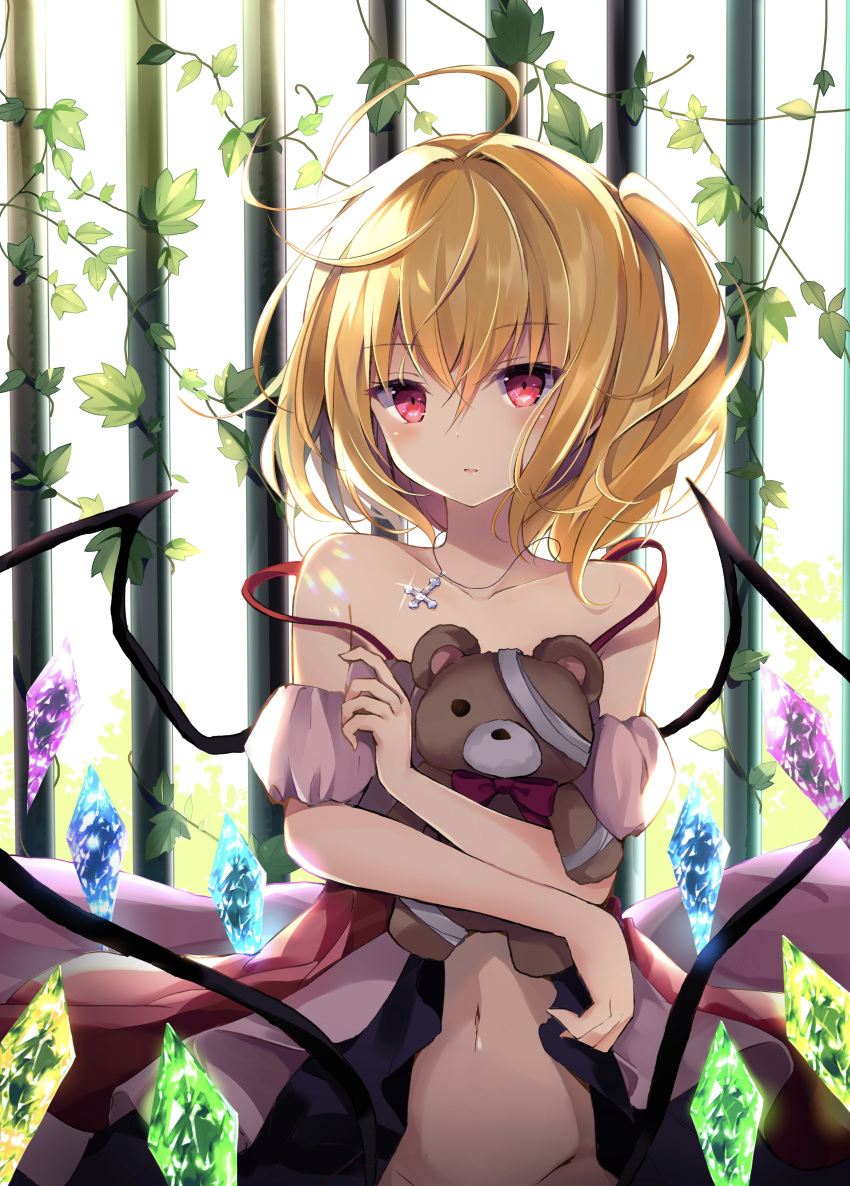 1girl absurdres ahoge bare_shoulders blonde_hair collarbone cross cross_necklace crystal doll_hug dress eyebrows_visible_through_hair fanbox_reward flandre_scarlet glint highres hyurasan iron_bars jewelry leaf looking_at_viewer medium_hair navel necklace off_shoulder one_side_up paid_reward parted_lips plant red_eyes side_ponytail solo spaghetti_strap strap_slip stuffed_animal stuffed_toy teddy_bear touhou upper_body vines wings