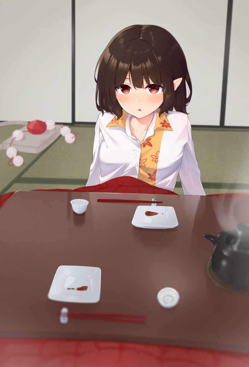 1girl :o bag bangs blurry blurry_background blurry_foreground blush brown_hair choko_(cup) chopstick_rest chopsticks commentary_request cup depth_of_field fusuma hat hat_removed headwear_removed highres indoors kanpa_(campagne_9) kotatsu leaf_print long_sleeves looking_at_viewer plate pointy_ears pom_pom_(clothes) pov red_eyes satchel shameimaru_aya short_hair sliding_doors solo steam table tatami teapot tokin_hat touhou two-tone_shirt under_kotatsu under_table