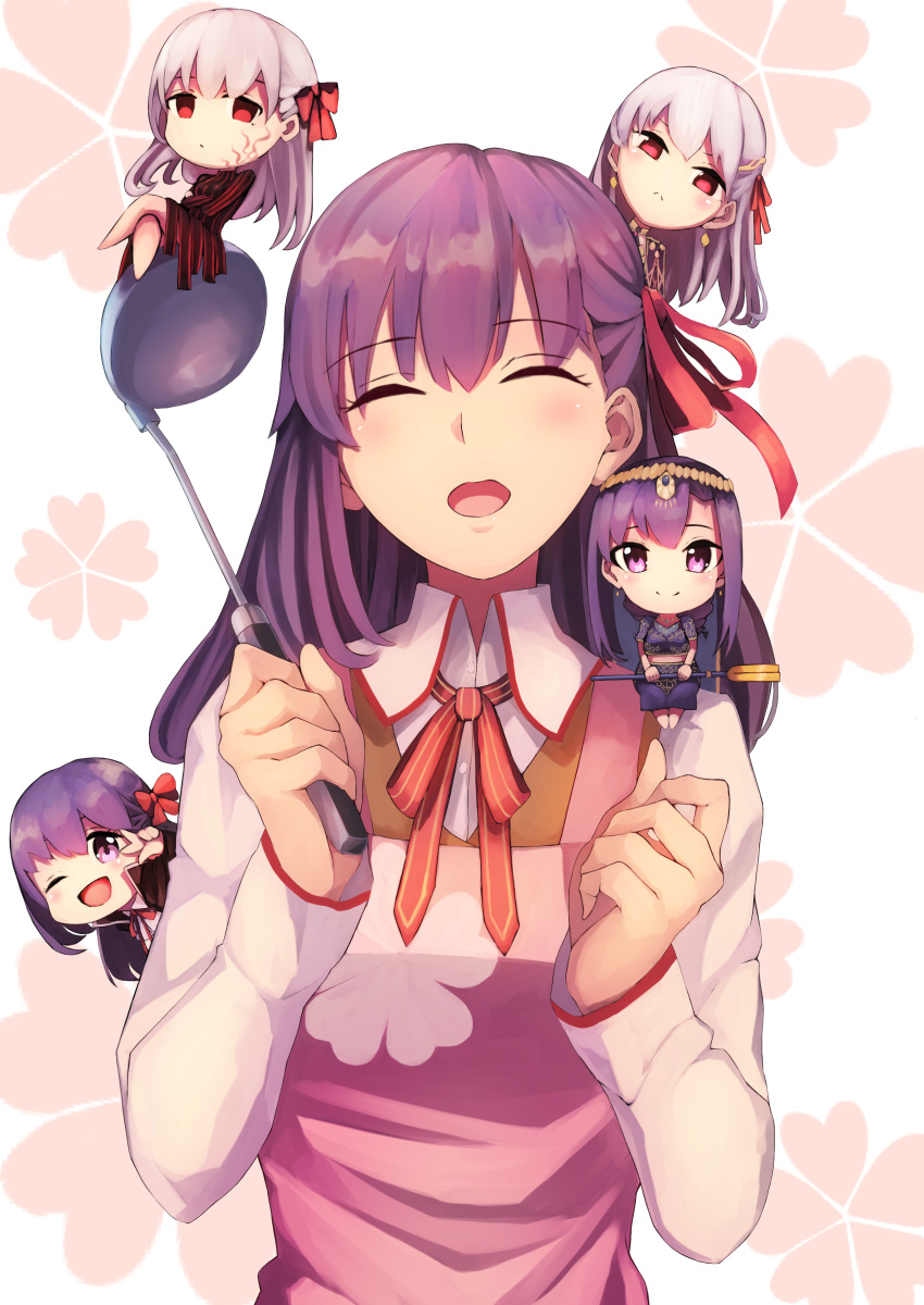 5girls absurdres apron bangs bb_(fate)_(all) bb_(fate/extra_ccc) black_coat black_dress blue_dress blush body_markings breasts brown_vest chibi circlet closed_eyes closed_mouth coat collared_shirt dark_persona dark_sakura dress earrings fate/extra fate/extra_ccc fate/grand_order fate/stay_night fate_(series) floral_background hair_ribbon heaven's_feel highres homurahara_academy_uniform indian_clothes jewelry kama_(fate/grand_order) ladle large_breasts long_hair looking_at_viewer matou_sakura multiple_girls multiple_persona neck_ribbon one_eye_closed open_mouth parted_lips parvati_(fate/grand_order) pink_apron ponytail popped_collar purple_dress purple_hair red_ribbon ribbon sh22 shirt silver_hair sitting smile staff vest violet_eyes white_background white_hair white_shirt
