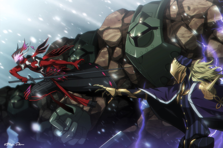 2boys antonio_salieri_(fate/grand_order) artist_name avicebron_(fate) black_cape blonde_hair buttons cape claws electricity fate/grand_order fate_(series) fighting_stance full_body glowing glowing_eyes golem holding holding_sword holding_weapon light_rays long_hair male_focus mask meiji_ken midair multiple_boys outdoors pants pointing snowing standing striped striped_pants sunbeam sunlight sword weapon winter